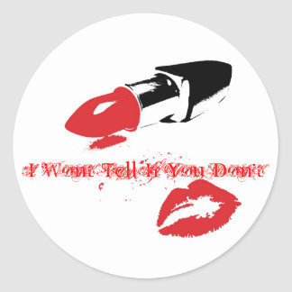 kiss and tell classic round sticker