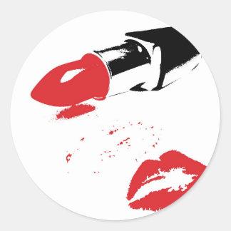 kiss and tell round sticker