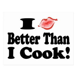 Kiss Better Than Cook Postcard