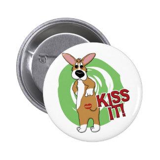 Kiss Butt Corgi Button