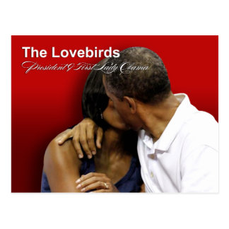 KISS CAM Lovebirds President & First Lady Obama Postcard