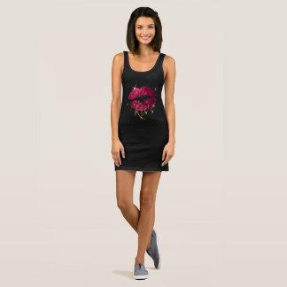 Kiss - Hot Pink Sparkle Glitter Lips Sleeveless Dress