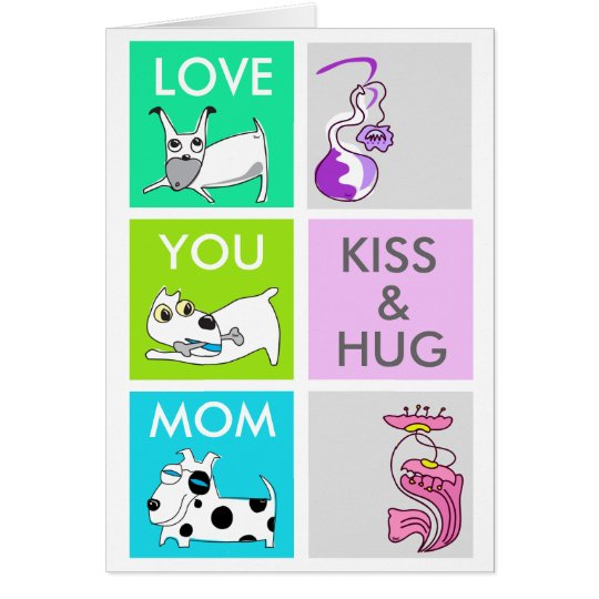 Kiss & Hug Dog Happy Mother's Day Card