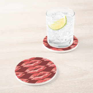 Kiss Lips Drink Sandstone Coaster