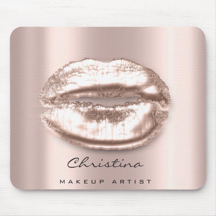Kiss Lips Pink Rose Gold Blush Makeup