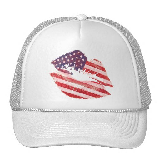 Kiss lips with American flag Hats