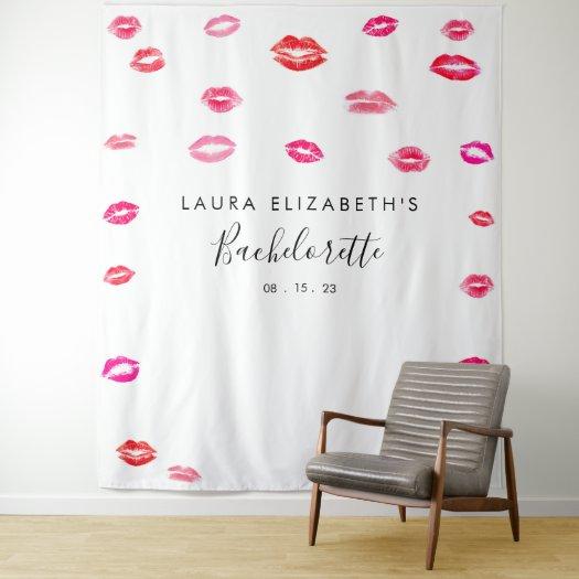 Kiss Lipstick Bachelorette Photo Booth Backdrop