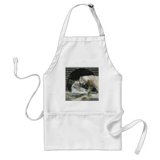 Kiss love and joy White Bengal Tigers Adult Apron