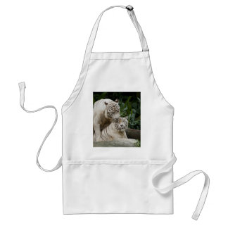 Kiss love peace and joy white tigers lovers aprons