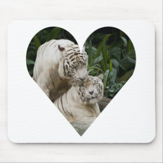 Kiss love peace and joy white tigers lovers mouse pad