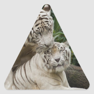 Kiss love peace and joy white tigers lovers triangle stickers