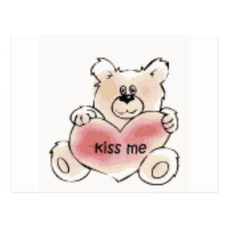 kiss me bear postcard