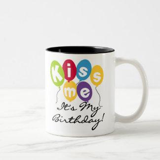 Kiss Me Birthday Two-Tone Coffee Mug