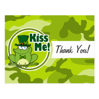Kiss Me; bright green camo, camouflage Post Card