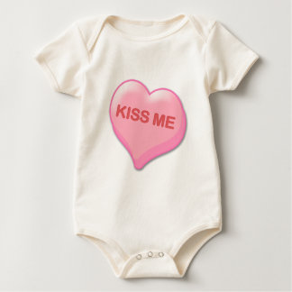 Kiss Me Candy Heart Baby Bodysuit