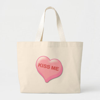 Kiss Me Candy Heart Large Tote Bag