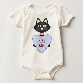 Kiss me CAT-conversation heart Baby Bodysuit
