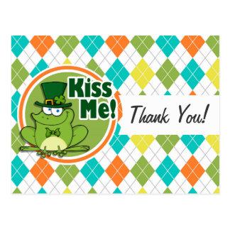 Kiss Me!  Colorful Argyle Pattern Postcard