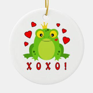 Kiss Me Frog Valentine's Day XOXO Ceramic Ornament