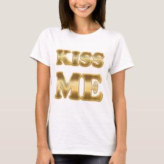 Kiss Me Gold Ladies Baby Doll T-Shirt