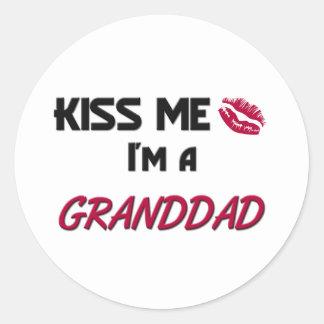 Kiss Me Granddad Classic Round Sticker