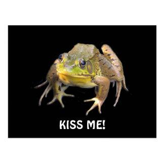 Kiss Me! Green Frog Postcard