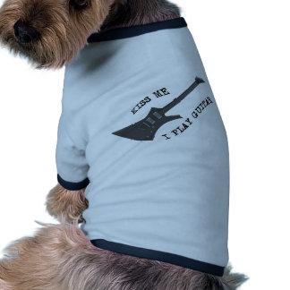 Kiss Me Guitar Player Dog T Shirt
