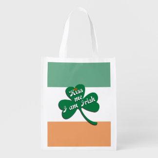 Kiss me I am Irish Grocery Bag