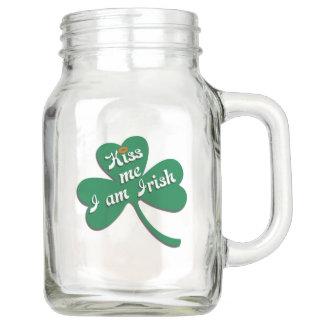 Kiss me I am Irish Mason Jar