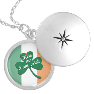 Kiss me I am Irish Silver Plated Necklace