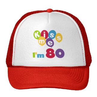 Kiss Me I m 80 Birthday T-shirts and Gifts Mesh Hats