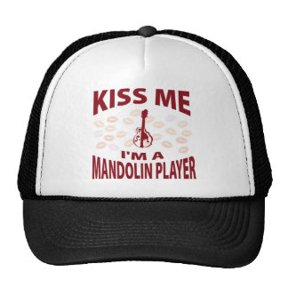 Kiss Me I m A Mandolin Player Mesh Hats