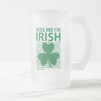 Kiss Me I'm Irish Frosted Glass Beer Mug