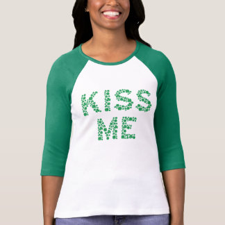 Kiss Me (I'm Irish) T-Shirt Spelled With Clovers