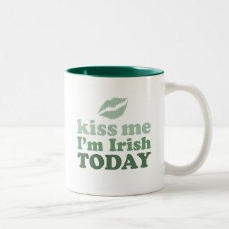 """Kiss Me, I'm Irish Today"" Two-Tone Coffee Mug"