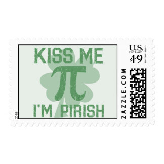 """Kiss Me, I'm Pi-rish"" Postage Stamp"