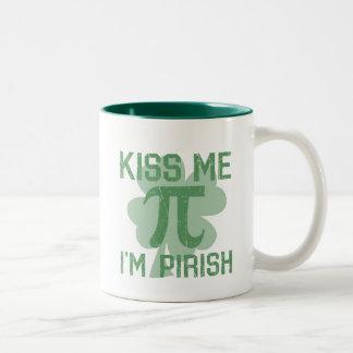 """""""Kiss Me, I'm Pi-rish"""" Two-Tone Coffee Mug"""