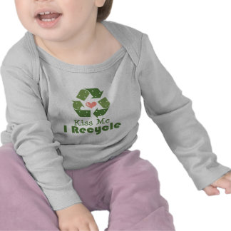 Kiss Me I Recycle Infant Long Sleeve Tee Shirt