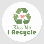 Kiss Me I Recycle Stickers