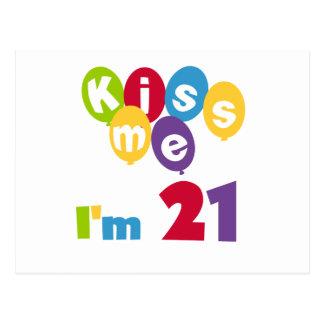 Kiss Me I'm 21 Birthday T-shirts and Gifts Postcard