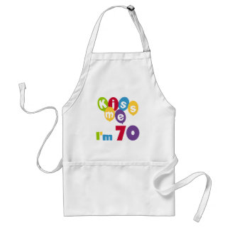 Kiss Me I'm 70 Birthday T-shirts and Gifts Adult Apron