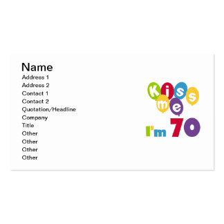 Kiss Me I'm 70 Birthday T-shirts and Gifts Double-Sided Standard Business Cards (Pack Of 100)
