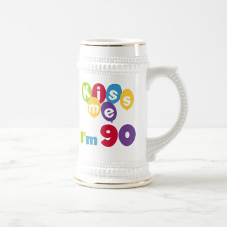 Kiss Me I'm 90 Birthday T-shirts and Gifts Beer Stein