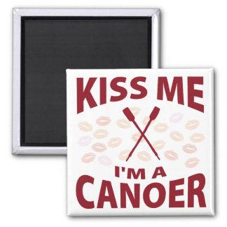 Kiss Me I'm A Canoer 2 Inch Square Magnet