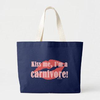 Kiss Me I'm a Carnivore (Dark) Large Tote Bag