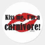 Kiss Me I'm a Carnivore Round Sticker