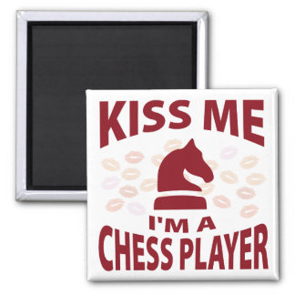 Kiss Me I'm A Chess Player 2 Inch Square Magnet