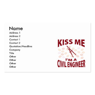 Kiss Me I'm A Civil Engineer Double-Sided Standard Business Cards (Pack Of 100)