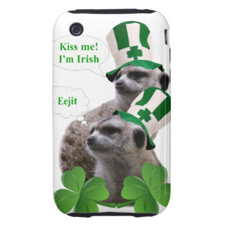 Kiss me I'm a Irish meerkat design iPhone 3 Tough Covers