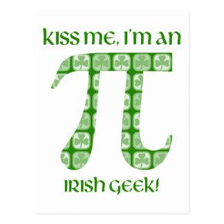 Kiss Me, I'm A Irish Nerd St. Pat's Day Pi Tees Postcard